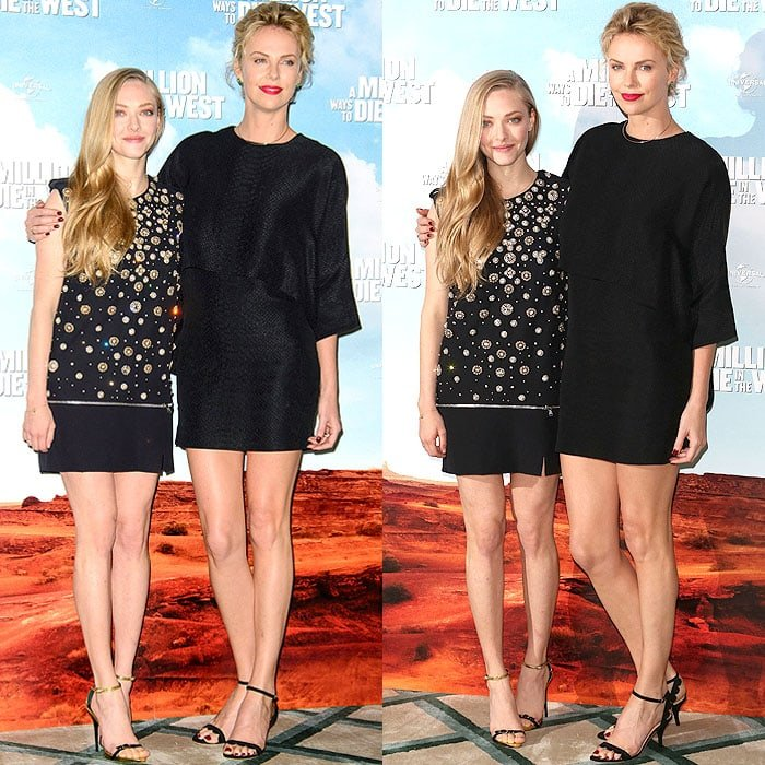 Amanda Seyfried and Charlize Theron at a photo call for 'A Million Ways to Die in the West' at Claridge's hotel in London, England, on May 27, 2014