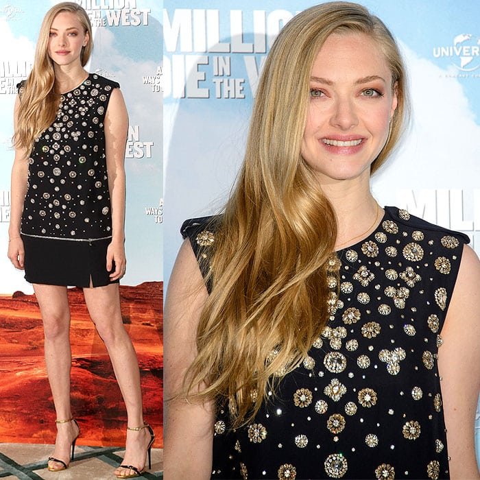 Amanda Seyfried in Alexander McQueen and Giuseppe Zanotti at the 'A Million Ways to Die in the West' London photo call