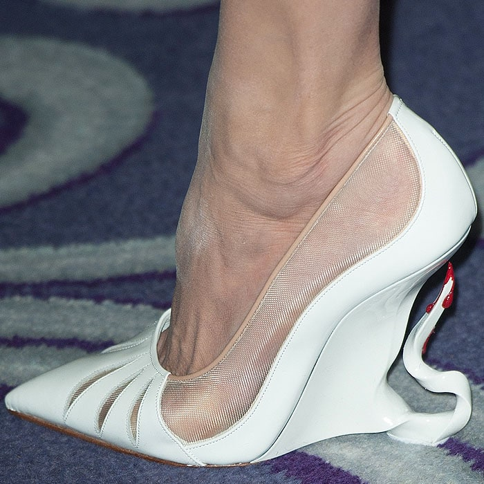 Angelina Jolie's custom Christian Louboutin sculpted Maleficent wedges with bloody spike heels Maleficent
