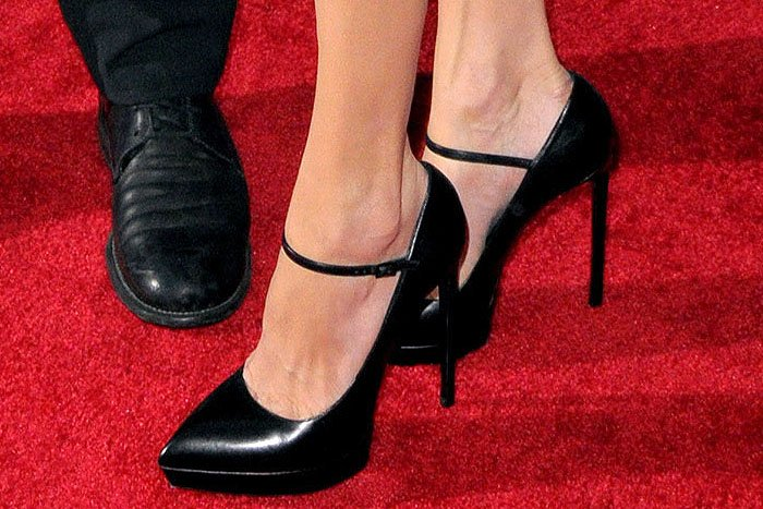 "Saint Laurent classic ""Janis"" Mary Jane pumps on Angelina Jolie"