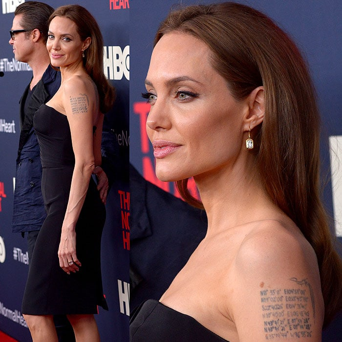 Angelina Jolie's makeup looking flawless and Brad Pitt's jacket looking even more wrinkly without the flash photography