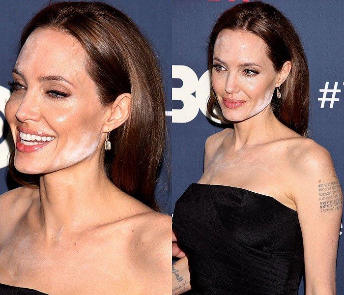 Angelina Jolie suffering a white powder makeup malfunction