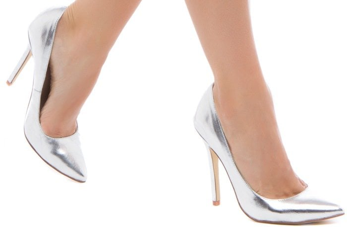 Silver Beatrice Pointy-Toe Pumps