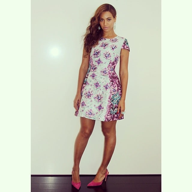 Beyonce floral dress pink shoes