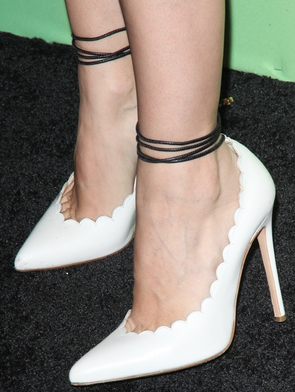 Rachel Bilson showing toe cleavage in white leather Bionda Castana Rosario ankle-wrap pumps