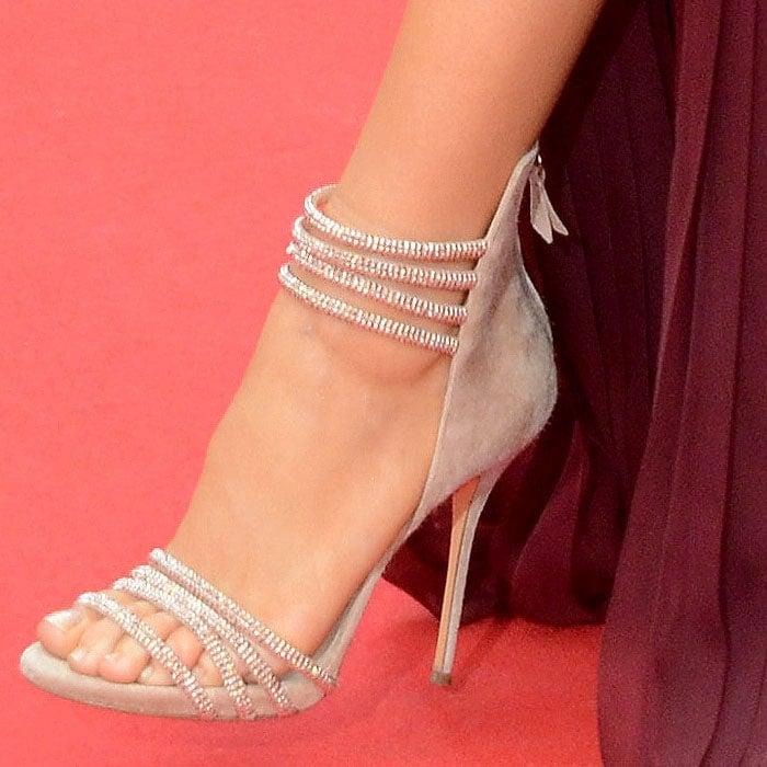 Blake Lively Casadei crystal strap suede sandals