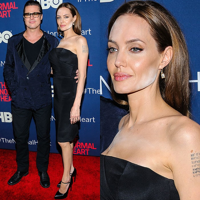 Angelina Jolie was blissfully unaware that her makeup was malfunctioning while she posed on the red carpet