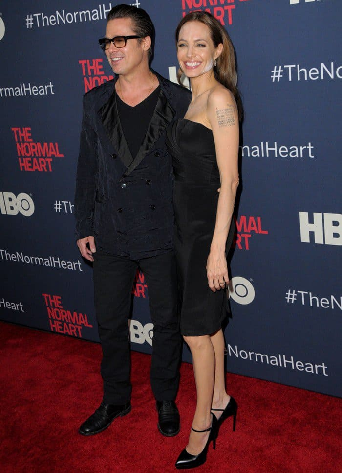 Brad Pitt and Angelina Jolie on the red carpet at 'The Normal Heart'