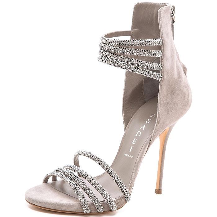 Casadei Crystal Strap Suede Sandals