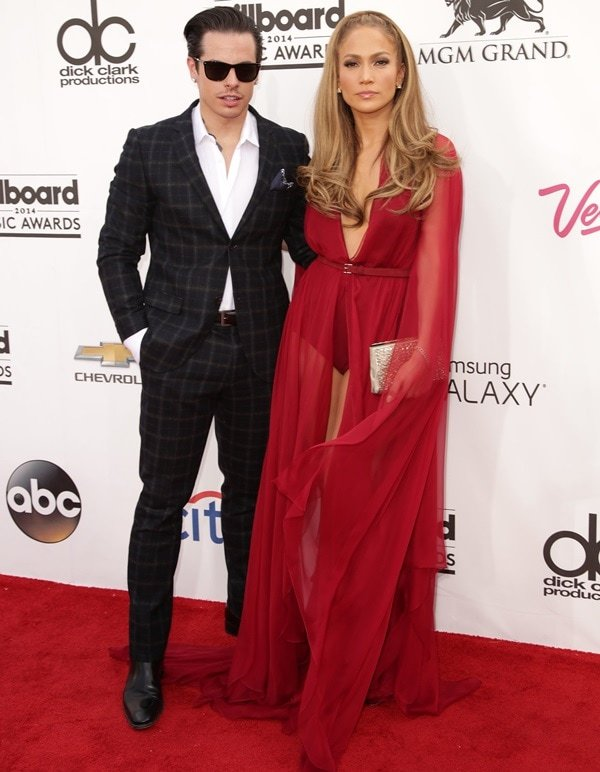 Jennifer Lopez and Casper Smart on the red carpet at the 2014 Billboard Awards heldat the MGM Grand Hotel & Casino in Las Vegas on May 18, 2014
