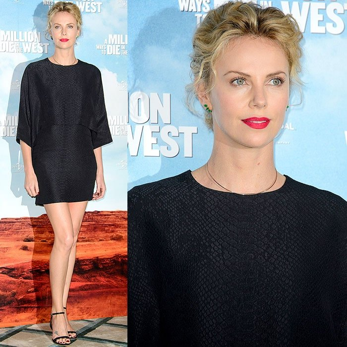 Charlize Theron in Stella McCartney and Loeffler Randall at the 'A Million Ways to Die in the West' London photo call