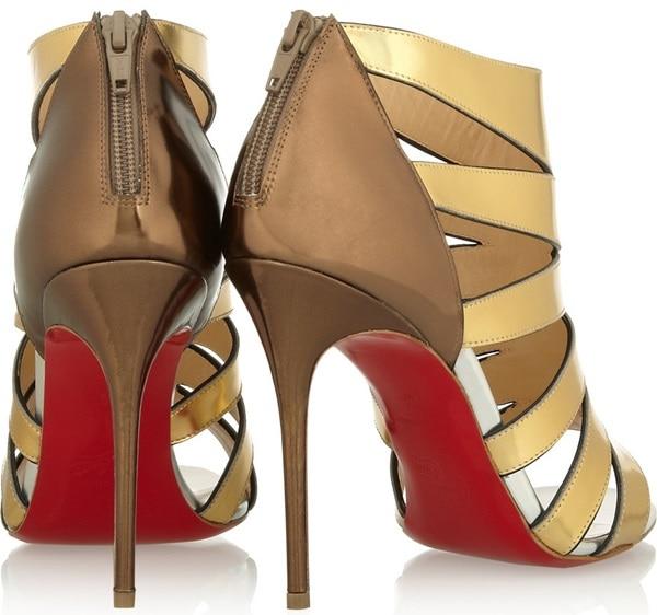 Christian Louboutin Beautyk 100 cutout metallic patent-leather sandals back
