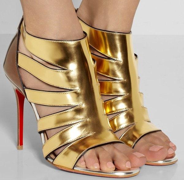 Christian Louboutin Beautyk 100 cutout metallic patent-leather sandals