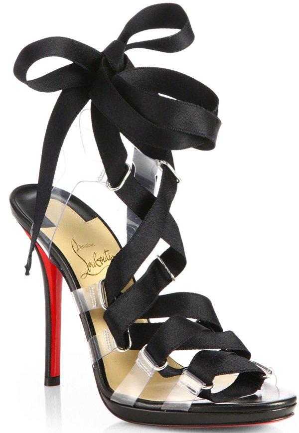 Christian Louboutin Black Nymphette Satin Tieup Sandals