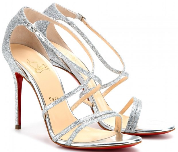 Christian Louboutin Gwynitta 100 glitter-finished leather sandals