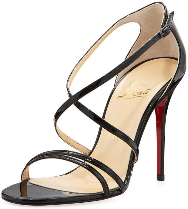 Christian Louboutin Gwynitta Patent Crisscross Red-Sole Sandal