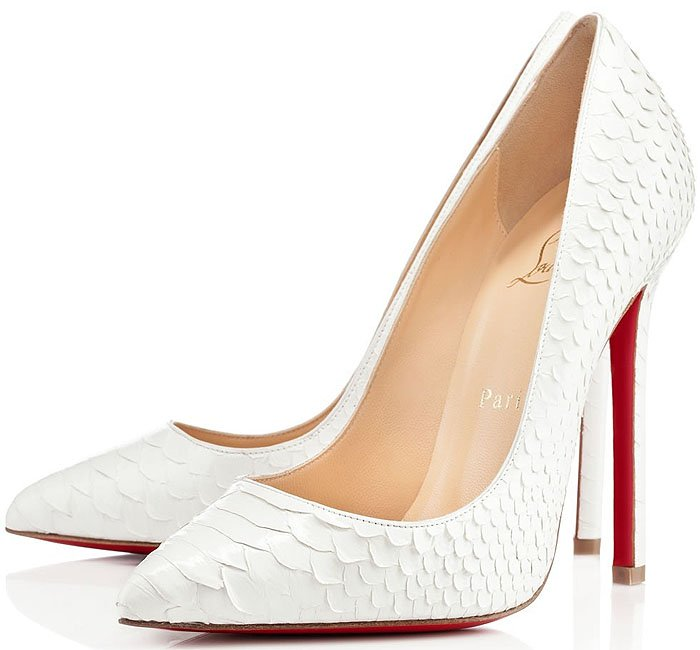 Christian Louboutin Pigalle Python Pumps in White