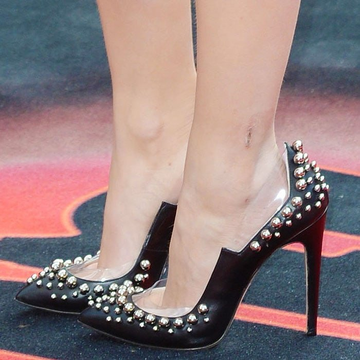 Diana Vickers inedgy ball-studded pumps with clear cutout paneling