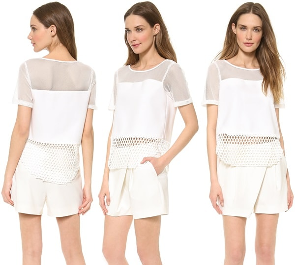Elizabeth and James  Rider Mesh Top in White