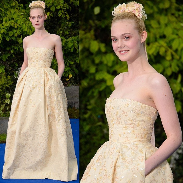 Elle Fanning at a private 'Maleficent' reception for the Great Ormond Street Hospital held at Kensington Palace in London, England, on May 8, 2014