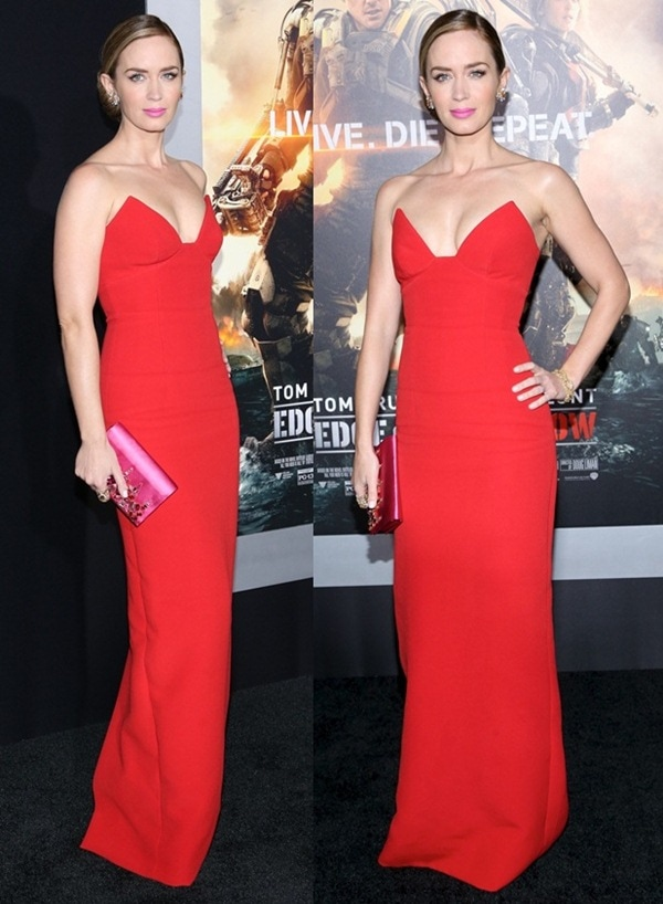 Emily Blunt wearing a gorgeous red Prada gown
