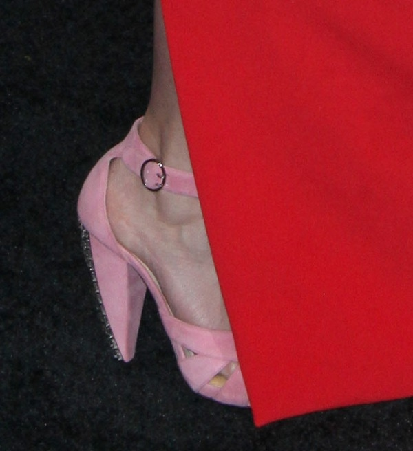 Emily Blunt wearing pink ankle-strap sandals