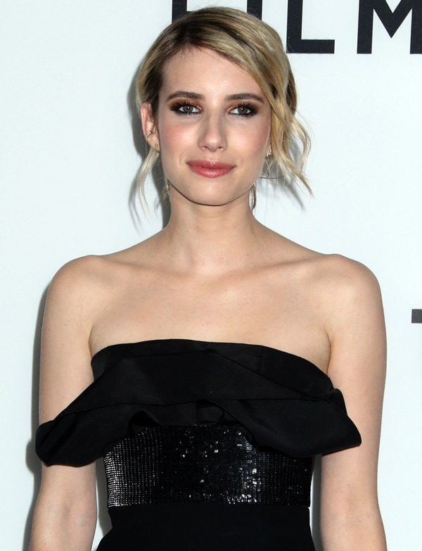Emma Roberts showing off her earrings by Jacquie Aiche and Anita Ko