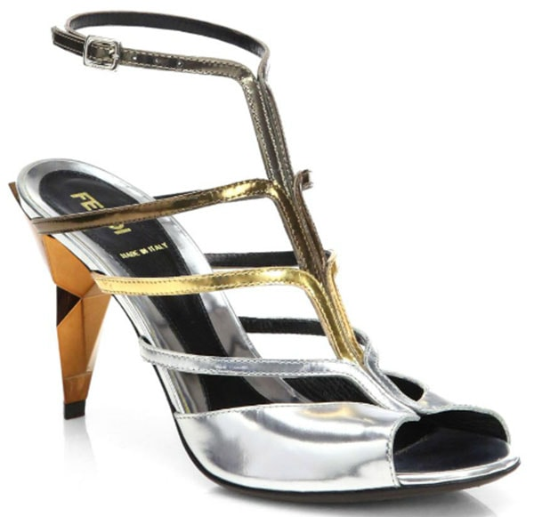 Fendi Multicolored Metallic Leather Sandals