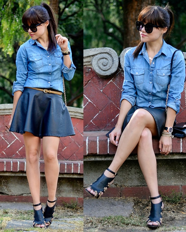 Gaby highlighted her legs in a leather skirt and a denim top