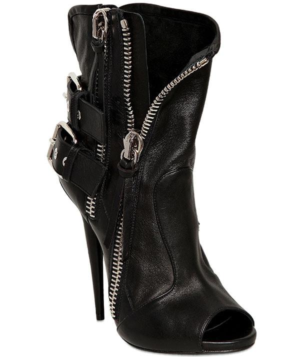 Giuseppe Zanotti Leather Open-Toe Biker Boots