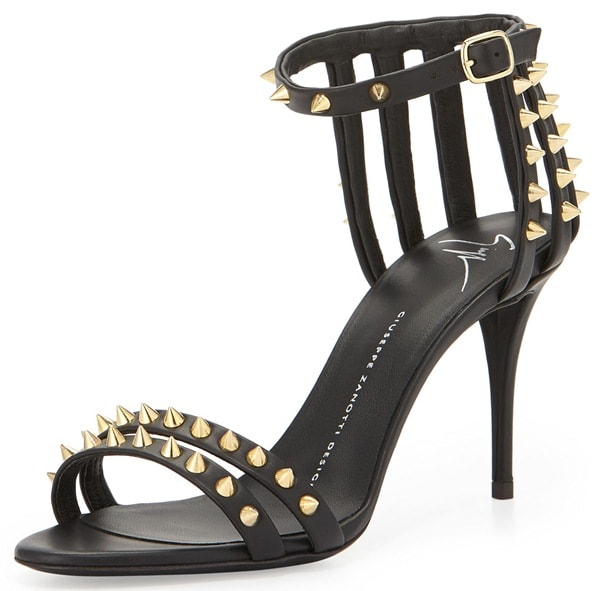 Giuseppe Zanotti Spiked Cage Heel d'Orsay Sandals
