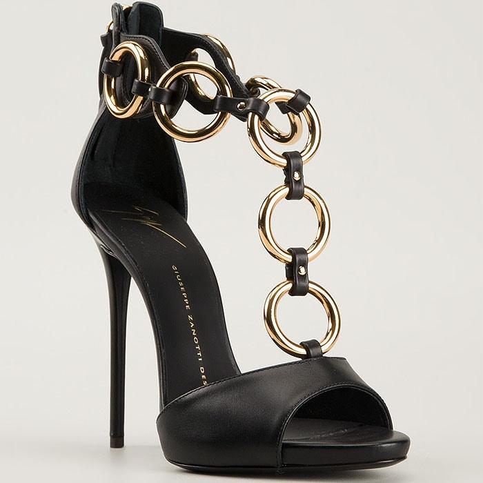 Giuseppe Zanotti gold ring t-strap sandals