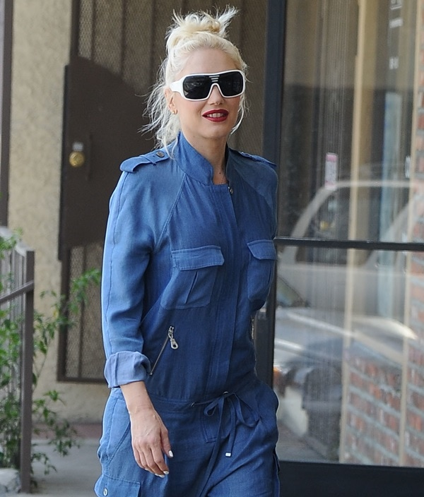 Fashionable mom-of-three Gwen Stefani going for an acupuncture appointment wearing a cargo jumpsuit