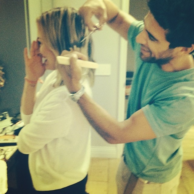 Hilary Duff getting a haircut from celebrity hairstylist Marcus Francis