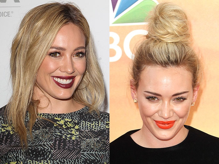 Hilary Duff shows off her shoulder hair top knot