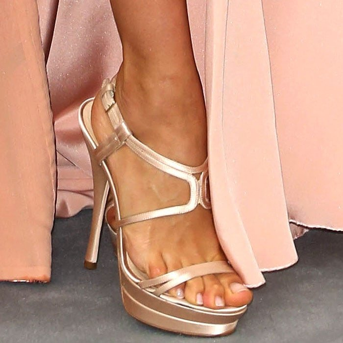 Irina Shayk's feet in Versace satin platform sandals