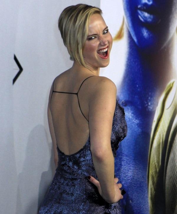 Jennifer Lawrence ina velvet chiffon jacquard bias slip dress