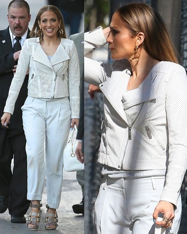Jennifer Lopez wearing a Rachel Zoe jacket and Stella McCartney trousers