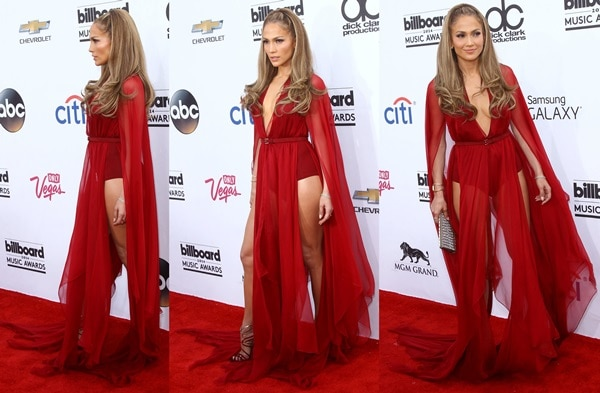 Jennifer Lopez in a dress from the Donna Karan Fall 2014 collection