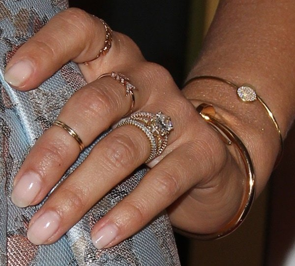 Jessica Albashowing off herEF Collection rings