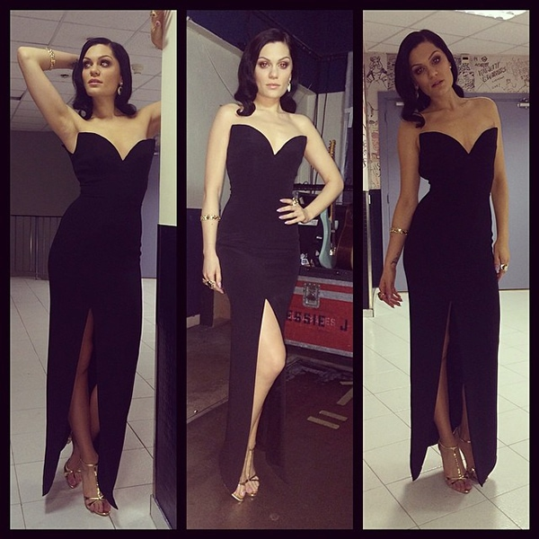 Jessie J wowed the crowd in a floor-length black Azzaro dress that got her cleavage and legs exposed