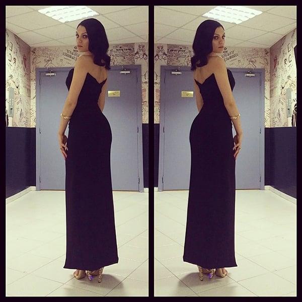 Jessie J wearing an Azzaro dress and Miu Miu heels