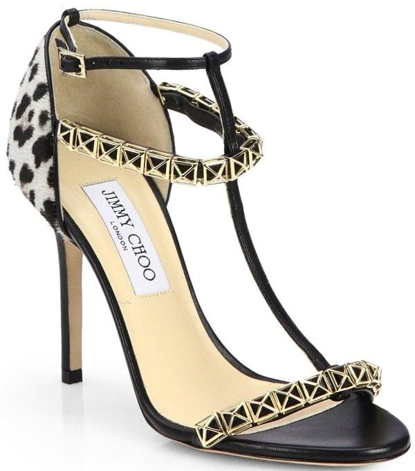 Jimmy Choo Gold Flint Leopardprint Calf Hair Sandals