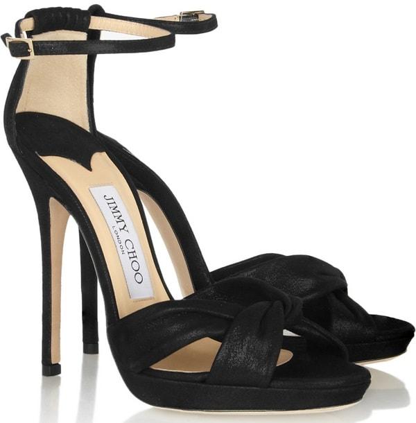 Jimmy Choo Jada shimmer-leather sandals