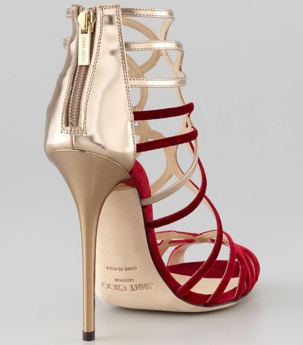 Jimmy Choo Maury Velvet & Leather Sandals