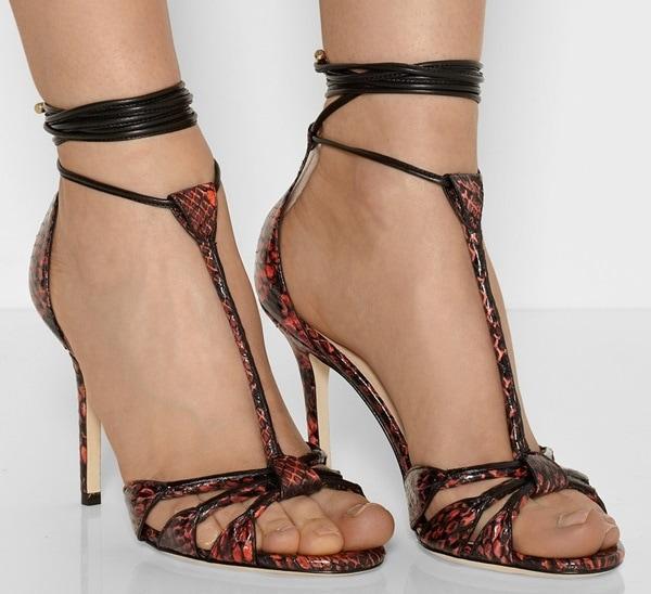 Jimmy Choo Motive elaphe and leather T-bar sandals