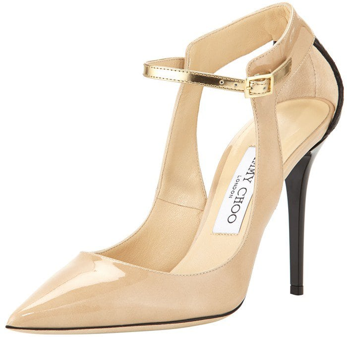 Jimmy Choo Mystic Snake-Trim Pointy Pump Neutral