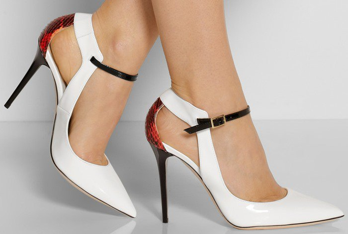 Jimmy Choo Mystic patent-leather and elaphe pumps