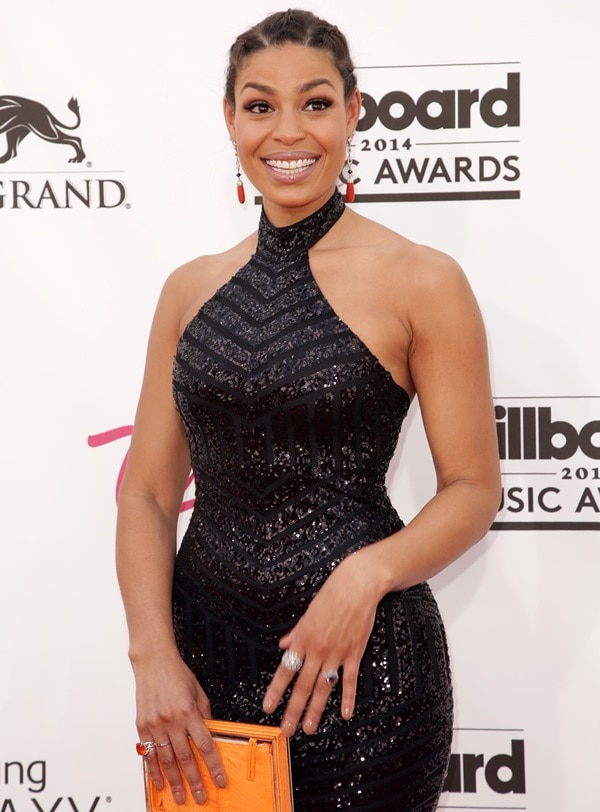 Jordin Sparks opted for a sparkling black halter cocktail dress by Michael Costello