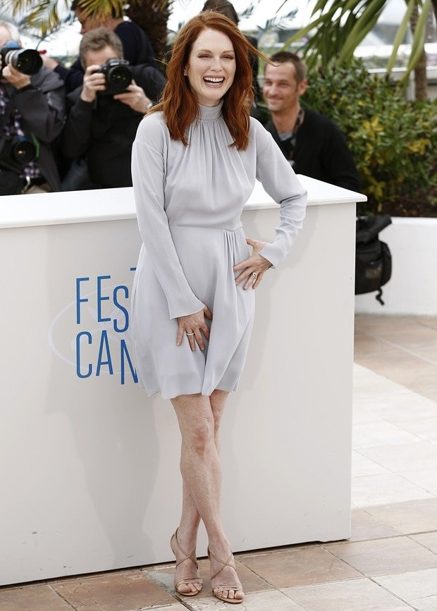 Julianne Moore donned a blue-hued high-neck, long-sleeved chiffon dress from the Nina Ricci Fall 2014 collection
